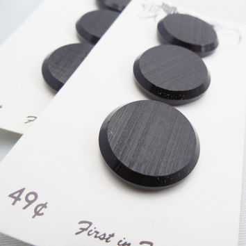 """Black Buttons 7/8"""", 6 Vintage Black Buttons with Shank, Arnold's of Dallas, Inc."""