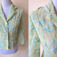 sheer brocade blazer (small to medium), yellow green floral blouse