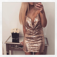 Women Sexy Mini Dress Deep V-Neck Metal Sequins Dress Halter Neck with Metal Chain Backless Christmas Party Dresses Vestidos