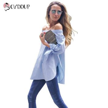 Women Blue Bow Tie Loose Blouse Plus Size Off Shoulder Tops Stripe Long Shirts Fashion Casual Summer 2017 Free Shipping