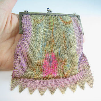Art Deco Purse Fine Metal Mesh Hand Painted Germany Baguette Rhinestone Frame Sapphire Kiss Clasp