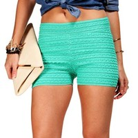 Mint Textured Shorts