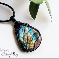 OOAK Wire wrapped Labradorite pendant, multicolored stone, pink enhanced stone, black and dark blue copper wire, unique necklace for women