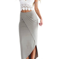 White and Gray Self-tie Crochet Lace Top And Wrap Skirt Suit