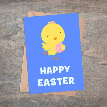 "Happy Easter - Printable Greeting Card, Instant Download, 5x7"", Cute Easter Gift, Yellow Chicken, Blue Background, Easter Animals, Kawaii"