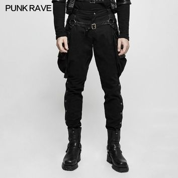 Gothic Brand New Punk Rave Men Black Steam Steampunk Riding Pants Trousers K304