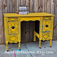 Yellow Vintage Desk/ Navy/ Vanity/ Bedroom Furniture/ TV Stand/ Storage/ Distressed/ Rustic