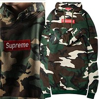 Supreme Unisex Supreme Camouflage Embroidery Hoodies Camouflage Green