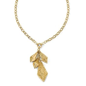 14k Yellow Gold Polished Filigree Drop Necklace, 18 Inch