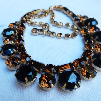 Unusual Amber Rhinestone Necklace Large Chocolate Rhinestones Unique Espresso Rhinestones 1950s Necklace Perfect Fall