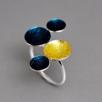 Sunny Skies Open Ring Sterling Silver Four Circles Sparkling Yellow Blue Crystal Enamel Statement Ring Custom Color Combination Gift for Her