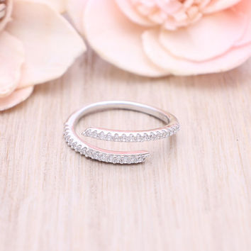 925 sterling silver cubic zirconia Bypass ring / Wrap around ring