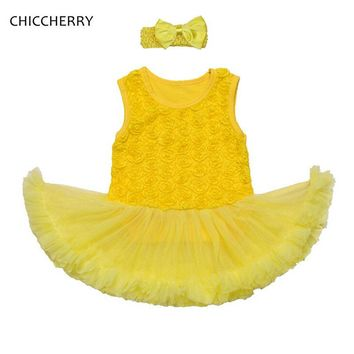 3D Rose Flower Yellow Infant Wedding Dress Headband Newborn Baby Girl Clothes Dresses for Kids Vestido Bebe 2017 Infant Clothing