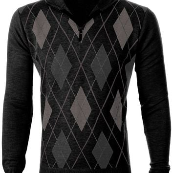 Enimay Mens Argyle V-Neck Golf Long Sleeve Sweater (Many Colors Available) Casual Argyle Charcoal Large