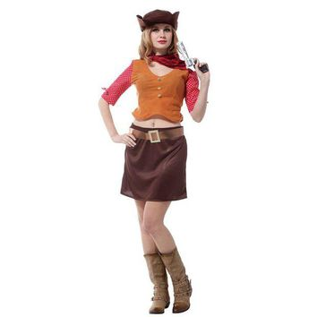 DCCKH6B Cowgirl Cosplay Purim San Fermin Halloween cowboy Costumes for Woman fantasia feminina Carnival Stage performance play dress