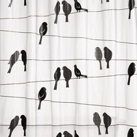 Birds on a Line Eco-Friendly PEVA Shower Curtain, Black