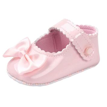 baby shoes girl bowknot leather shoes kids sneaker anti slip soft sole toddler shoes g  number 1