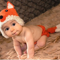 New babies  fox modelling   manual cap&pants  lovely  photography clothing (Color: Orange)