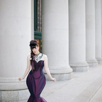 SAMPLE Purple  Dress  Gorgeous Diva -Satin and Lace Steampunk Mermaid Bustle Dress