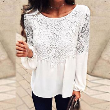 Women's Fashion Hot Sale Summer Hollow Out Lace Round-neck Long Sleeve T-shirts [11677681039]