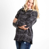 Frosty Tipped Sherpa Pullover in Charcoal by Peach Love KJ25015-01 CHAR