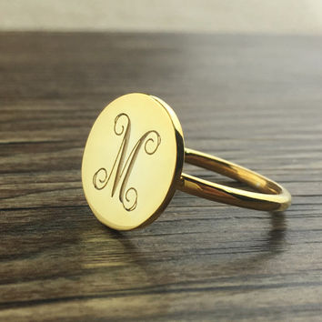 Monogram Ring Gold,Engraved Initial Ring,Personalized Monogram Ring, Gold Dish ring,Bridesmaid Ring,monogrammed gifts