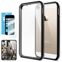 iPhone 5S Case, Spigen® [Ultra Hybrid] +Screen Shield [Black] Air Cushioned Bumper Case with Scratch-Resistant Clear Back Panel for iPhone 5S / 5 - Black (SGP10515)