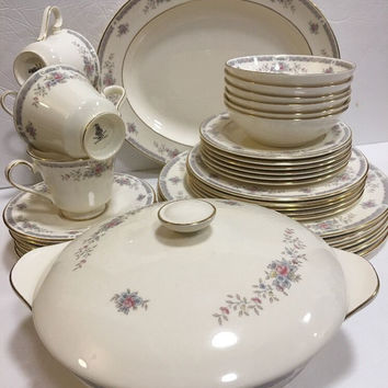 Royal Doulton Rebecca Albion Gray Pink Band Floral Sprays 37 pc, Dinnerware Set