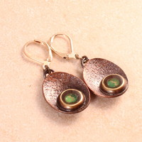 """Tiny Teeny Origami"" Brass & Copper Dangling Earrings (Dark Green+ Light Green+ Gold+ White)"