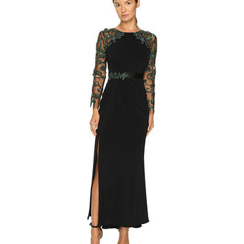 Marchesa Fitted Stretch Crepe Gown with Crystal Embroidered Raglan Sleeves and Beaded Satin Belt