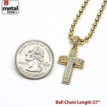 "Jewelry Kay style Men's Iced Out Hip Hop Cross Pendant  3 mm 27"" Ball Chain Necklace MMP 821 G"