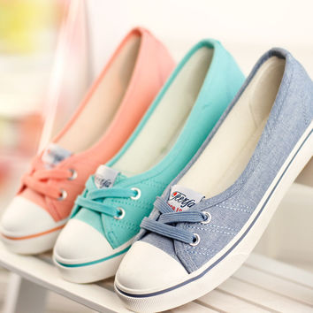 Canvas Low Cut Flat Shoes