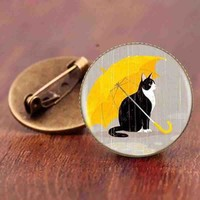 Gaxybb cat cartoon brooch jewelry fashion accessories simple design supernatural steampunk cat animal brooches gift pins