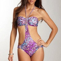 ST Tropez Animal Print Purple Trikini Hand made by PonkoWorld