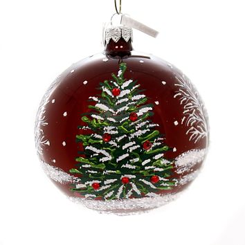 Christina's World HOLIDAY TREES ON RUBY RED Glass Hand Painted Win723