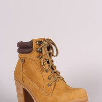 Liliana Lug Sole Lace Up Chunky Heeled Work Ankle Boots