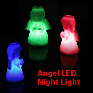 D1U#  Romantic LED Colorful Changing Villain Lights Angel Night Light Energy Saving LED Lamp Free Shipping