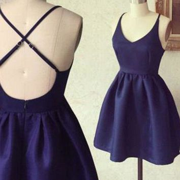 A Line Short Navy Blue Prom Dress with Cross-Back, Short Graduation Dresses, Navy Blue Homecoming Dresses