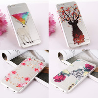 """Romantic Flowers Printed Soft TPU Mobible Phone Skin Cover Case Silicon For iPhone 6  6s 4.7""""Inch Phone Housing"""