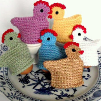 Easter Egg Warmers  Set of 3 Cute Chickens Crochet
