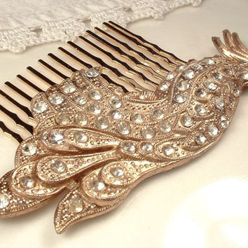 Art Deco TRUE Vintage Gold Rhinestone Peacock Hair Comb, Antique Rose Gold Bird Bridal Headpiece, Pave Crystal Brooch to OOAK Hair Accessory