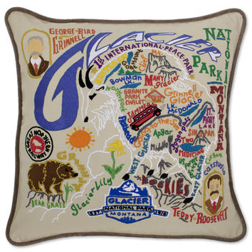 Glacier National Park Hand Embroidered Pillow