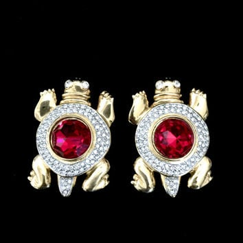 Valentino Turtle Earrings,  Vintage Haute Couture,  Red Faceted Center Crystal, Encircled by Pave Ice Crystals , Gold Tone, Designer Signed