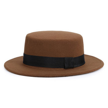 Coffee Contrast Tie-Band Fedora Hat