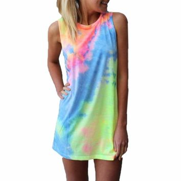 Tie Dye Beach Cover Tank Top Dress