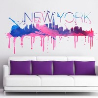New York Watercolor Skyline - 59 X 30 Inches