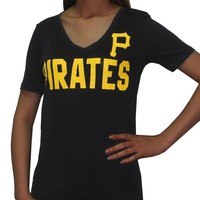 Pink Victoria's Secret Womens MLB Pittsburgh Pirates V-Neck T Shirt L Black