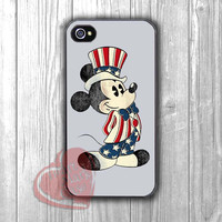 Disney Mickey Mouse with American Flag clothes -dtw for iPhone 4/4S/5/5S/5C/6/ 6+,samsung S3/S4/S5,samsung note 3/4