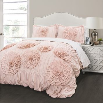Lush Decor Serena Blush 3-piece Comforter Set | Overstock.com Shopping - The Best Deals on Comforter Sets