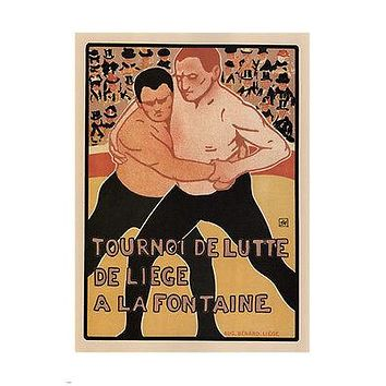 WRESTLING TOURNAMENT of LIEGE POSTER Armand Rassenfosse FRANCE 1899 24X3 New